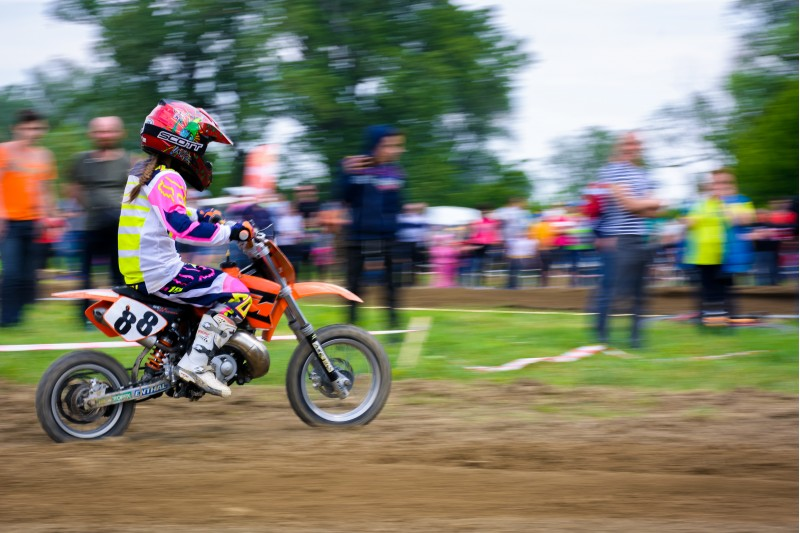 Uzhgorod, Ukraine - May 21, 2017: Extreme enduro MOTO SPORT Junior rider in the action. TransCarpathian regional Motocross Championship