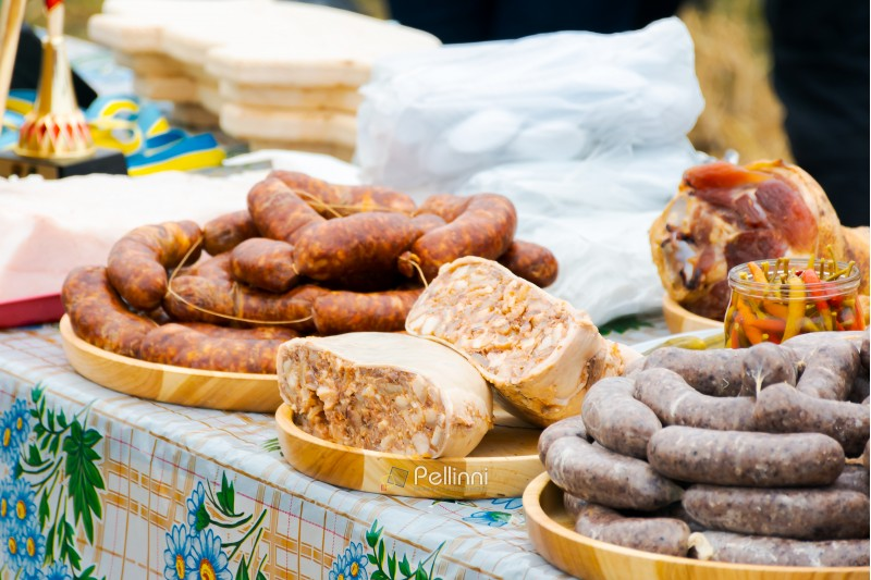 Hecha, Ukraine - JAN 27, 2018: Pork butchers competition. traditional sausages from pork on the table