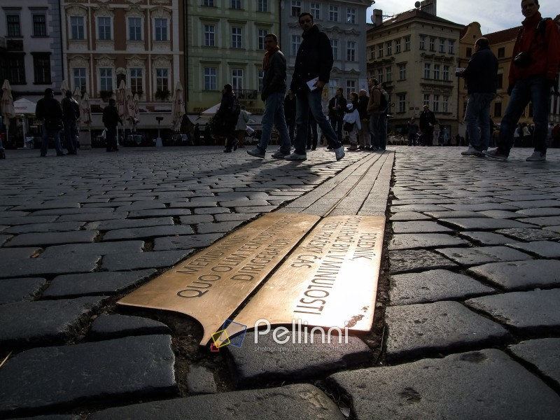 PRAGUE - OCTOBER 30: Prague Meridian on October 30, 2006 in Prague, Czech republic. Prague Meridian embedded into the paving in Prague Old Town Square