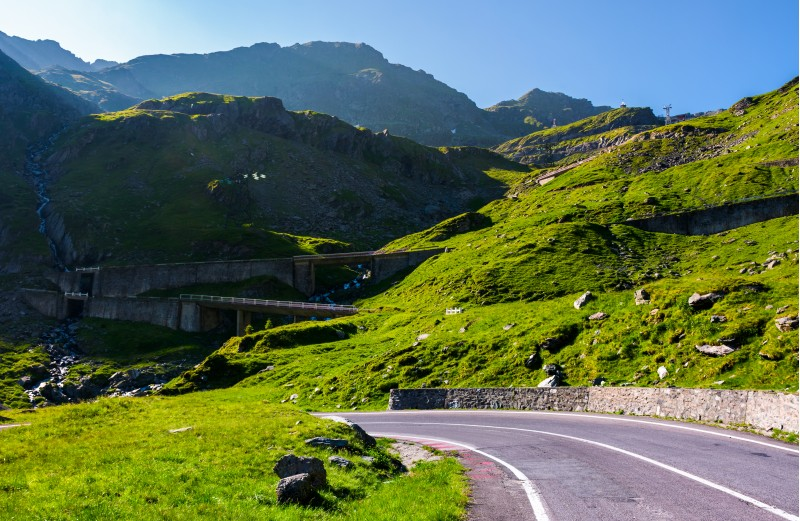 Transfagarasan road up hill to the mountain top. beautiful transportation scenery in mountains of Romania. location southern Carpathians
