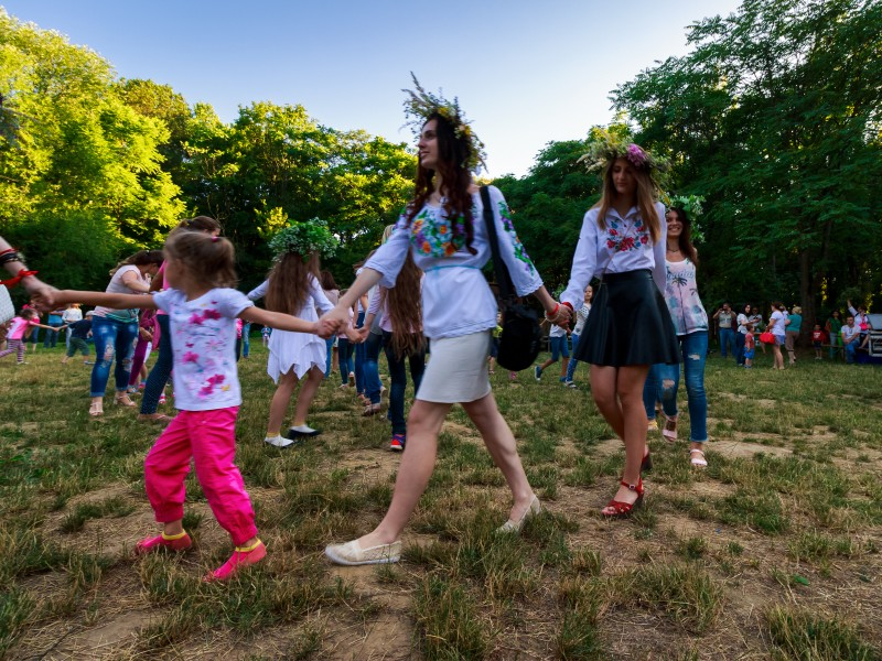 Uzhgorod, Ukraine - 07 Jul, 2016: Young female round dance on Ivana Kupala fest. Popular holiday in Slavic culture
