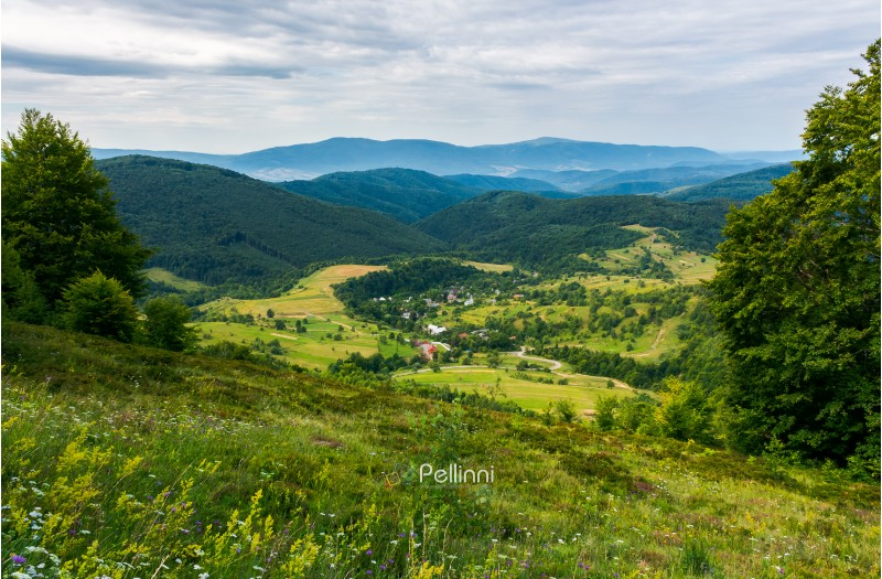 beautiful countryside landscape in mountains. forested hills and village down in the valley. overcast summer landscape