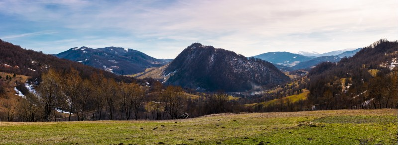beautiful countryside panorama in springtime. beautiful view of mountainous area in Carpathians.