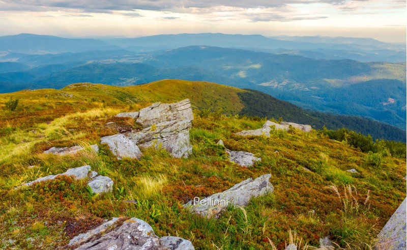 boulders on the edge of hillside. lovely view from Runa mountain, Ukraine. cloudy august morning