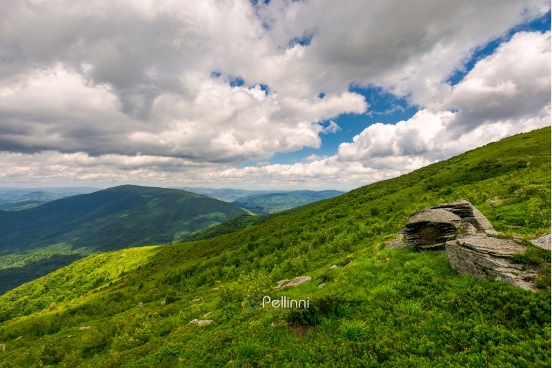 boulders on the hills of Runa mountain on a cloudy day. beautiful Carpathian landscape in summer time