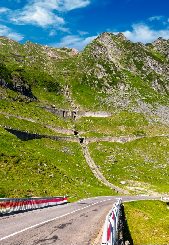 bridge on transfagarasan route of Romania. beautiful summer landscape in mountains
