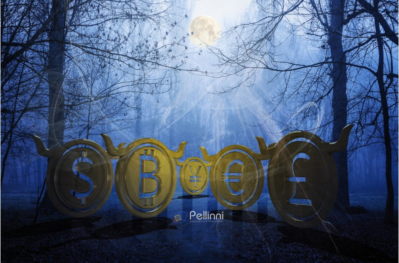 bullish coins hide in foggy forest. accumulating moon energy and waiting for the momentum to reveal their power on the market. spooky Halloween crypto night trading. 3d illustration