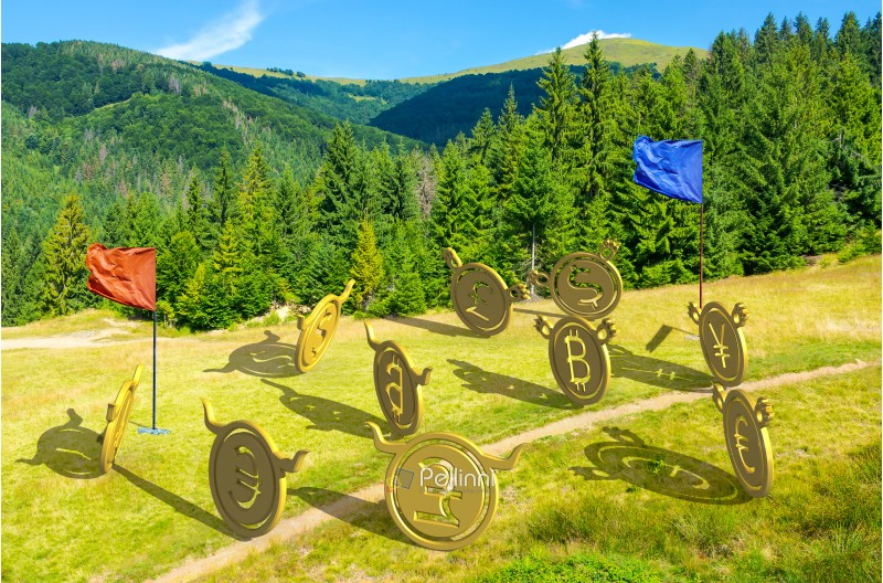 currency wars. bulls vs bears, bitcoin leading the team. battle on the hill near the forest. capture the flag concept. lovely summer landscape with mountain in the distance