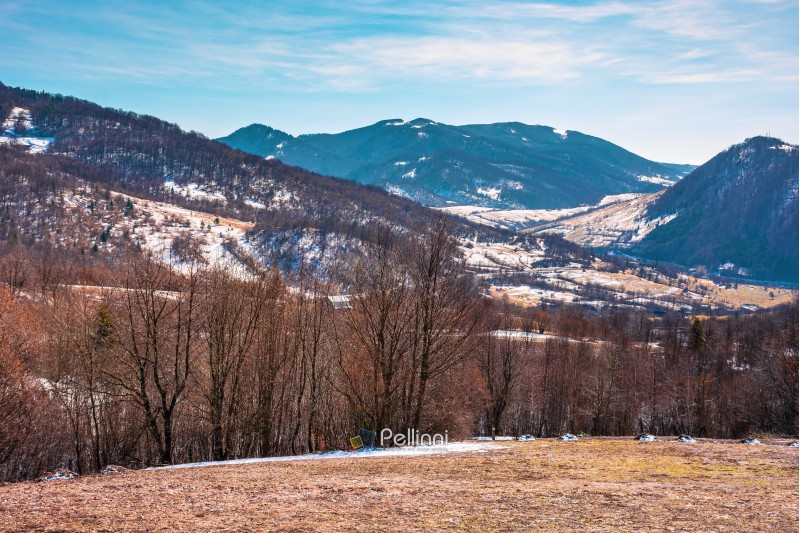early springtime in mountainous countryside. village in the valley. leafless trees on the meadow with weathered grass and spots of snow. spring is coming. sunny weather