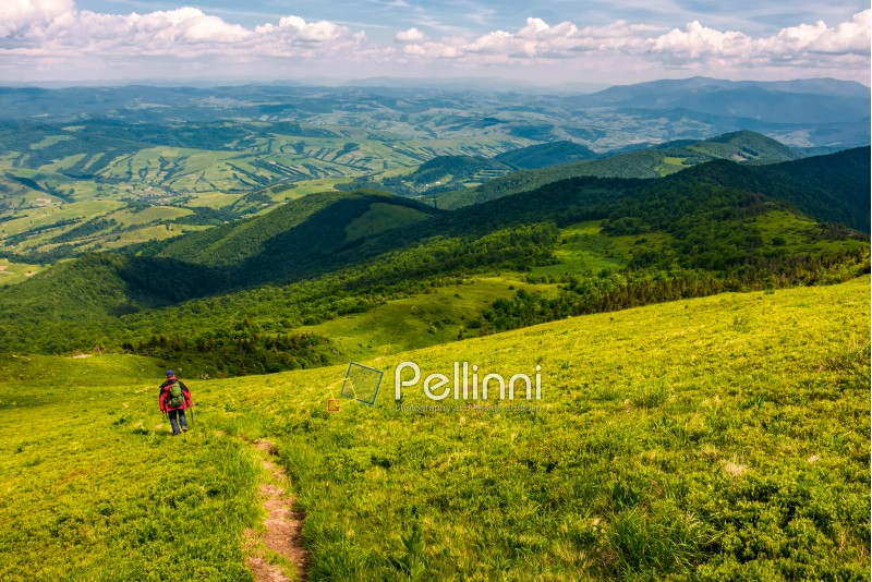 footpath down the hillside in to the valley. beautiful mountainous landscape in summertime. summer outdoors activity concept. location mountain Pikui, TransCarpathia, Ukraine