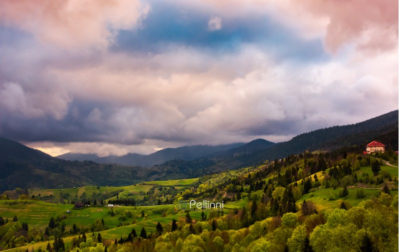heavy purple clouds over the rural countryside. beautiful landscape of Carpathian mountains in springtime