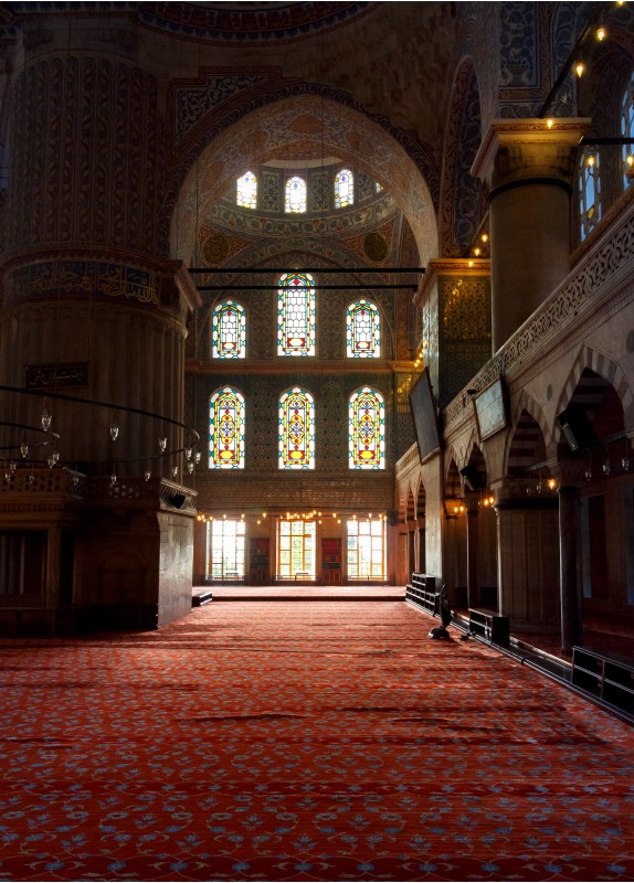 Istanbul, Turkey - 18 AUG, 2015: interior of Blue Mosque in Istanbul. beautiful stained-glass window. popular tourist place