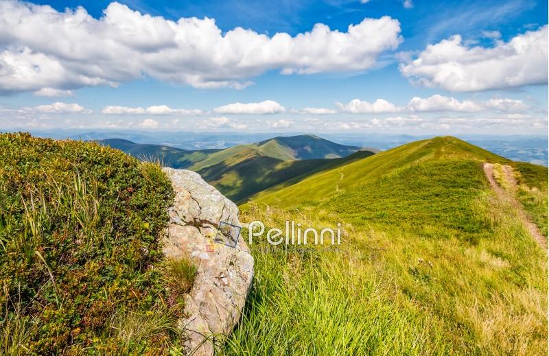 landscape with grassy meadow and giant boulders on the slope of a hill in Carpathian mountain ridge.  beautiful sunny summer day