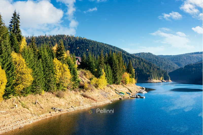 mountain lake reservoir in autumn. hills with coniferous trees in the distance. beautiful nature scenery. sunny weather