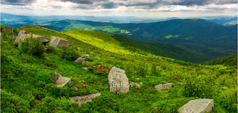 panorama of Runa mountain with boulders on hills. gorgeous landscape of amazing Carpathian mountains on a summer day with overcast sky
