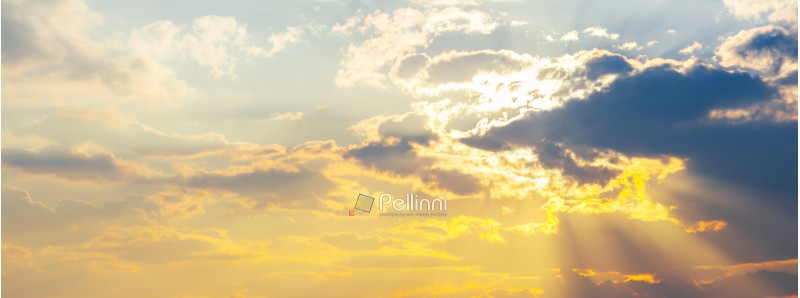 panorama of gorgeous sky with sun in clouds. lovely sunny background