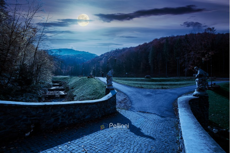 park among mountain in autumn at night in full moon light. trees in colorful foliage, vivid grassy green lawns. walking path to the bridge through creek
