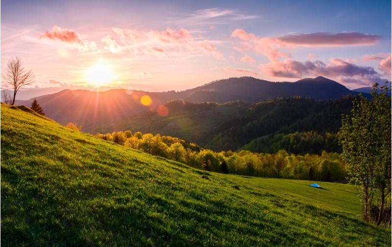 pink sunset over the mountains in springtime. gorgeous Carpathian countryside. beautiful rural scene with fields and trees