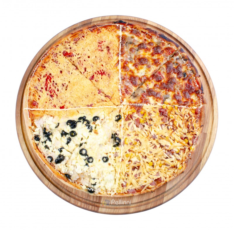 quadruple topping family pizza on the wooden desk isolated. view from the top. sausage vs pork and corn vs mushrooms vs olives, in different kind of cheese. find your favorite