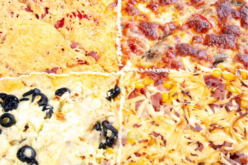 quadruple topping family pizza closeup. sausage vs pork and corn vs mushrooms vs olives, in different kind of cheese. find your favorite