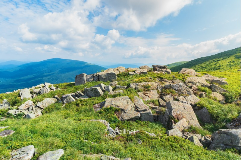 rocks on a grassy meadow in mountain. beautiful summer landscape. sunny weather with fluffy clouds