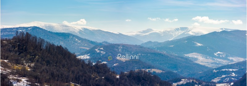 rolling hill and mountain ridge with snowy tops panorama. beautiful and bright weather in springtime