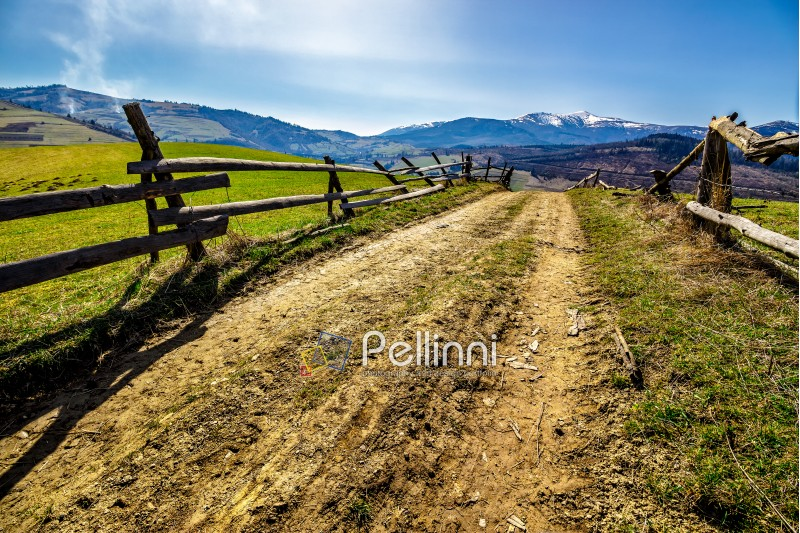 fence near the road through the  rural meadow in mountain region in spring time