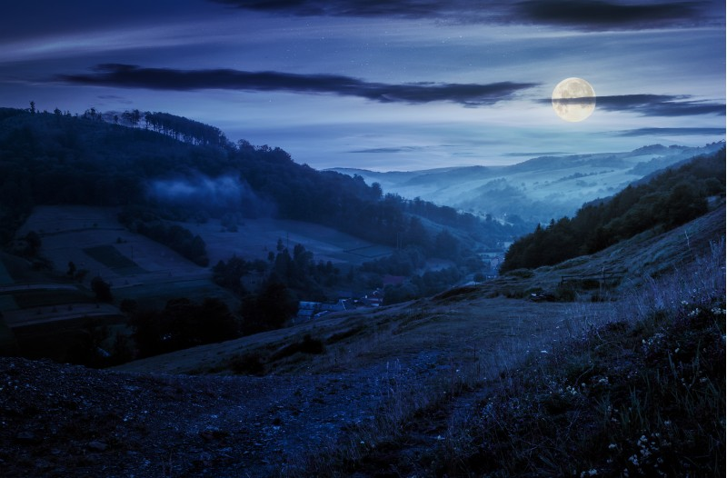 rural valley with forested hills at night in full moon light. beautiful summer landscape in Carpathian mountains