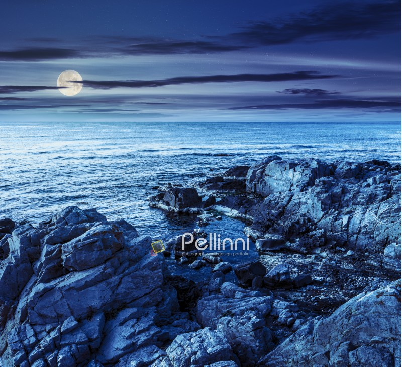 calm sea landscape with some wave near rocky coast with boulders and seaweed at night in full moon light
