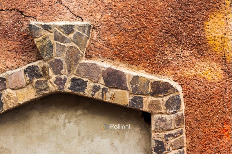 stone frame on the red wall. architectural background