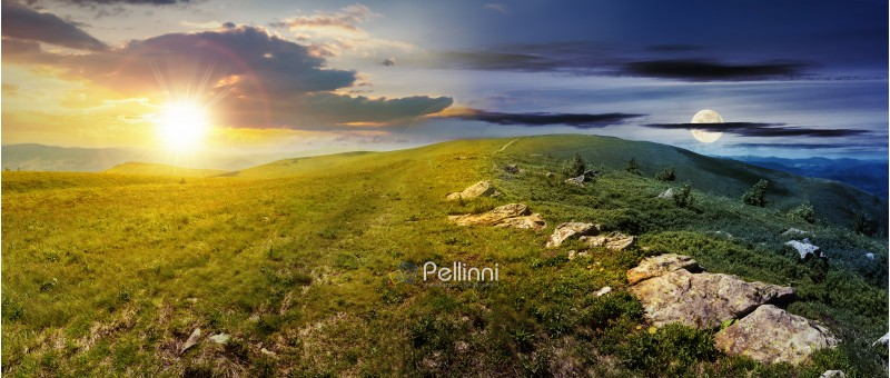day and night time change concept above carpathian alpine meadows panorama. wonderful summer landscape with sun and moon. fluffy clouds on the blue sky. stones on the edge of a hill