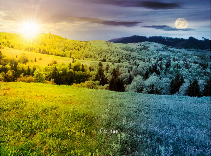 time change above mountainous countryside in springtime. grassy meadows and forested hill. freshness of nature concept