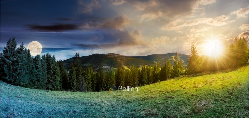 panorama of time change concept above alpine forest glade with sun and moon. beautiful early autumn landscape in Carpathian mountains. joyful vacation in wilderness