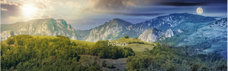 day and night time change concept above mountainous panorama. beautiful landscape of romania with sun and moon. distant ridge with rocks, cliffs and gorge.