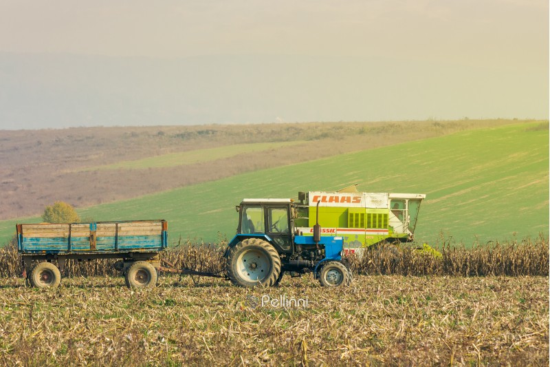 Shyroke, Ukraine - NOV 11, 2015: tractor and harvester in the field among the corn stalks in late fall  haze day