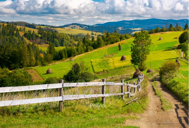 wooden fence along the country road. haystacks on agricultural fields. rolling hills ends up with mountain ridge in the distance. beautiful sunny day under the cloudy sky in Carpathian mountains