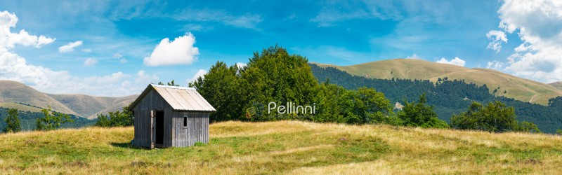 wooden hut on a grassy meadow. forested mountains in the distant. beautiful panorama of summer countryside