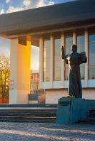 A. Dukhnovich memorial near the Uzhgorod Drama Theater. lovely urban scenery at sunrise in autumn
