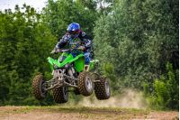 ATV Rider in Dirt Bike Jumping action. TransCarpathian regional Motocross Championship