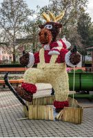 Nyiregyhaza, Hungary - December 7, 2014: Christmas deer on the Nyiregyhaza central square