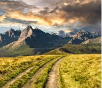 Composite Landscape image. Path through the meadow on hillside in Tatra mountains at sunset