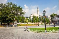 Sultanahmet Square is historic district of Istanbul near the Blue Mosque, it is a popular area among tourists