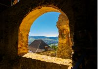 castle window view in to the beautiful mountainous. lovely summer weekend in Stara Lubovna, Slovakia