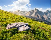 composite of grassy meadow and rocky mountains. beautiful unrealistic landscape in summertime
