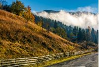 countryside road and fence at the mountain foot. cloud rising up from the forest at autumn morning