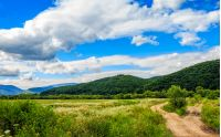beautiful countryside landscape. path through rural field near the forest on a tranquil summer day. mountain ridge under cloudy blue sky