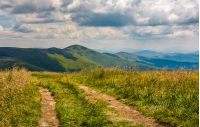 dirt road through grassy meadow on the ridge. beautiful summer landscape in Carpathian mountains under cloudy sky