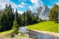 fairy tale mountainous summer landscape. composite image with high rocky peaks above the mountain river in spruce forest