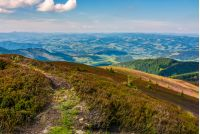 footpath on the edge of alpine hillside. beautiful view of valley in Carpathian mountainous region
