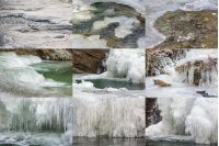 collection of ice and water textures on frozen mountain river
